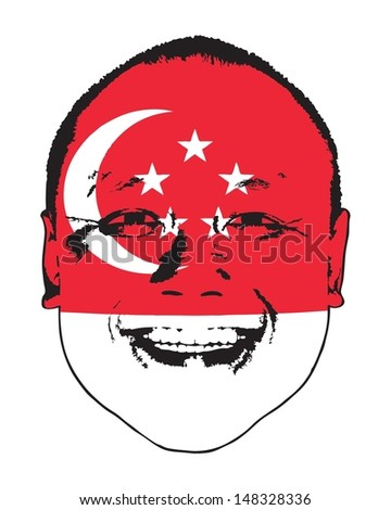 A Singapore flag on a face, isolated against white.  - stock vector