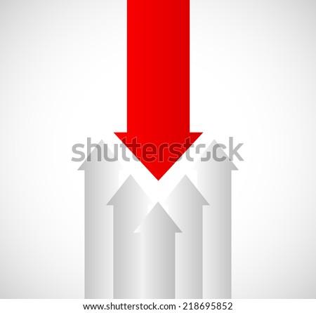 A Single Arrow against other arrows - stock vector