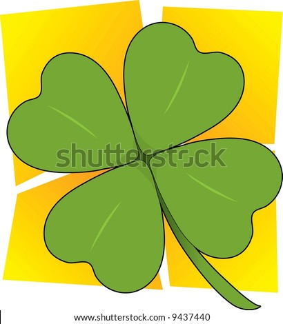 A single four leafed clover on a yellow squared background