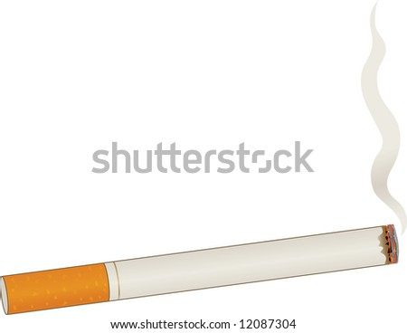 A single lit cigarette with a billow of smoke - stock vector