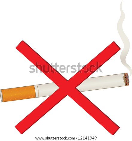 A single lit cigarette with a billow of smoke and a red cross over it - stock vector