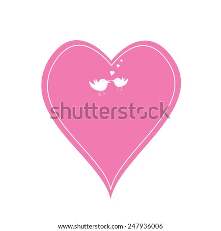 a single pink heart and love birds - stock vector