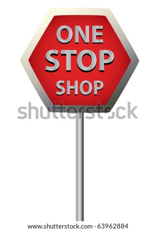 a single sign saying  one stop shop on a white background - stock vector