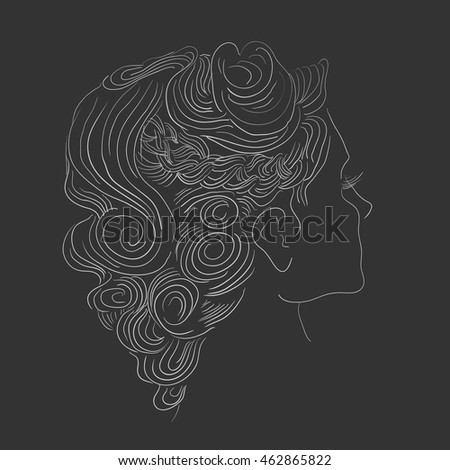 A sketch of a beautiful woman. Vector hand drawn illustration.