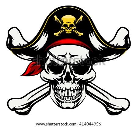 A skull and crossbones dressed in pirate costume with hat and eye patch - stock vector