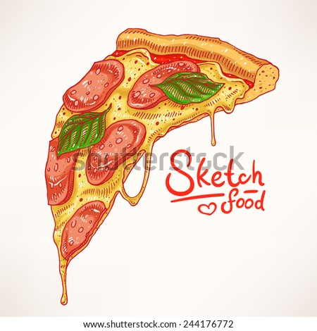 a slice of hand-drawn appetizing pepperoni pizza - stock vector