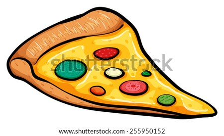 A slice of pizza on a white background - stock vector