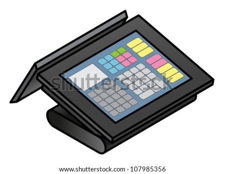 A slim profile touchscreen point of sale terminal with two screens. - stock vector