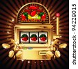 A slot fruit machine with cherry winning on cherries. Gold coins fly out at the viewer. - stock photo