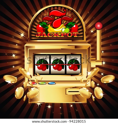 A slot fruit machine with cherry winning on cherries. Gold coins fly out at the viewer. - stock vector