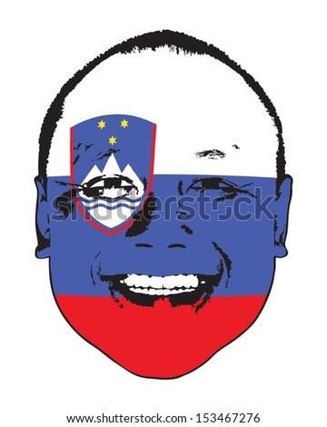 A Slovenia flag on a face, isolated against white.  - stock vector