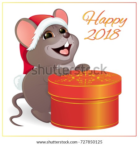 Small funny mouse large round red 727850125 a small funny mouse with a large round red gift box gold pattern negle Choice Image