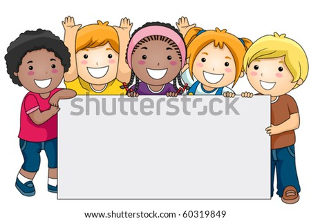 A Small Group of Kids Holding a Giant Blank Board - Vector