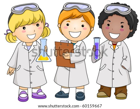 A Small Group of Kids in Laboratory Gowns - Vector - stock vector