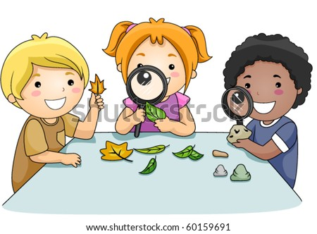 A Small Group of Kids Inspecting Leaves Through Magnifying Lenses - Vector - stock vector