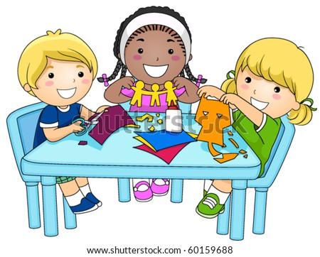 small group kids making paper cutouts stock vector hd royalty free rh shutterstock com Group of Women Clip Art Reading Group Clip Art
