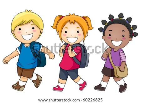 small group kids walking school vector stock vector 60226825 rh shutterstock com cute school kid clipart kid school clipart