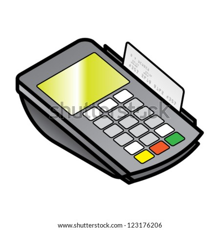 A small hand-held point of sale pin pad / terminal with a card in the swipe slot. - stock vector