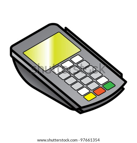 A small hand-held point of sale pin pad / terminal with card readers.
