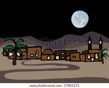A small near east desert town with full moon at night - stock vector