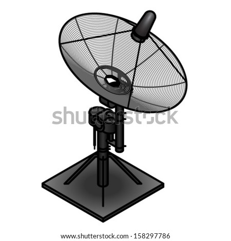A small satellite dish on a motorised mount. - stock vector