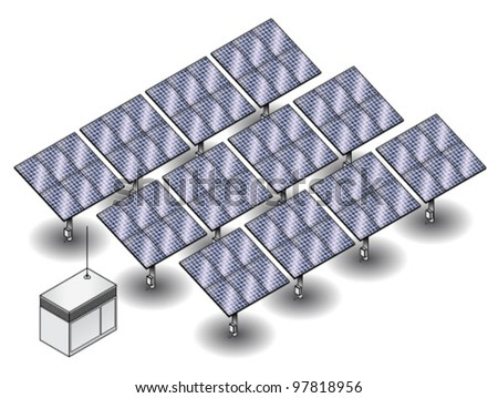 A small solar farm with 12 clusters of solar panels and a control/junction box. - stock vector