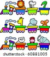 A small train carries lots of animals smiling, vector - stock vector