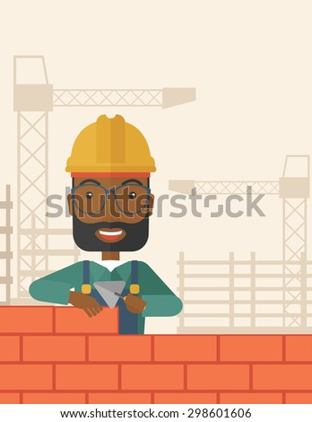 A smiling black builder wearing a hard hat buiding a brick wall. A Contemporary style with pastel palette, soft beige tinted background. Vector flat design illustration. Square layout.