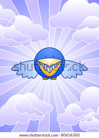 A smiling bluebird flies against the purple sky - stock vector