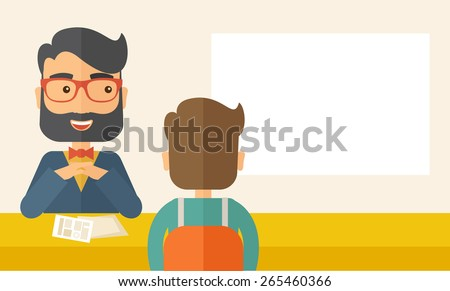 A smiling Caucasian human resource manager with beard interviewed the applicant with his curriculum vitae for the job vacancy.  Employment, recruitment concept. A contemporary style - stock vector