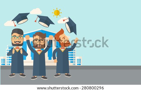 A smiling three men throwing graduation cap in the air. A Contemporary style with pastel palette, soft blue tinted background with desaturated clouds. Vector flat design illustration. Horizontal - stock vector