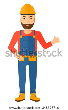 A smiling young hipster builder with the beard in helmet showing thumbs up sign vector flat design illustration isolated on white background. Vertical layout. - stock vector