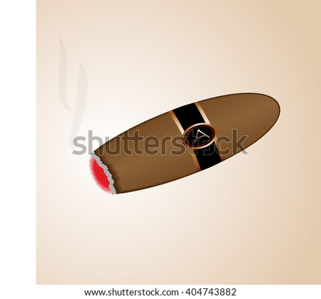 a smoking cigar on a light background