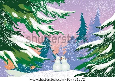 a snowman in a forest, holiday; christmas, illustration, winter - stock vector