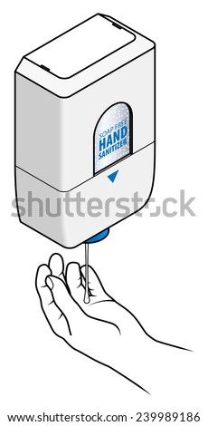 A soap-free hand sanitizer automatic dispenser with a hand. - stock vector