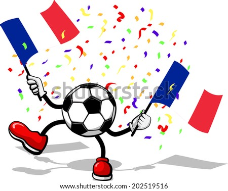 A soccer ball or football with arms and legs waving an French Flag with confetti falling. - stock vector