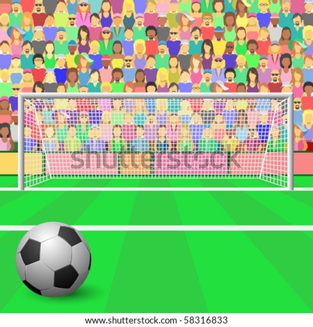 A Soccer Goal with ball and Crowd in Stadium - stock vector
