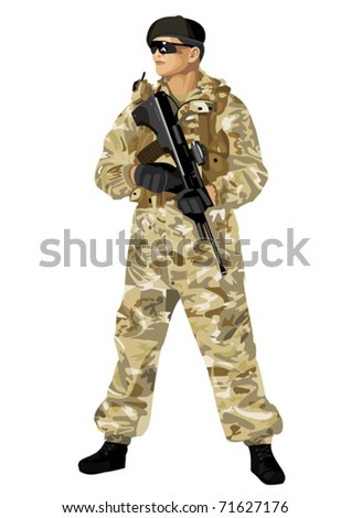 A soldier in camouflage holding a rifle. Highly detailed images. - stock vector
