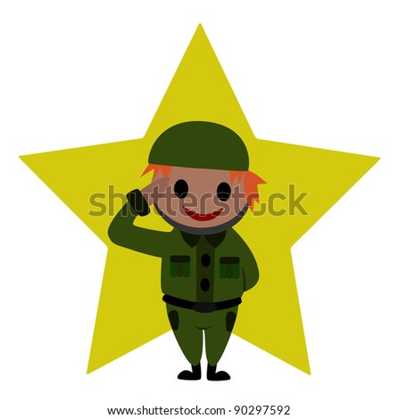 A soldier is saluting. Concept : Standing with smiling. - stock vector