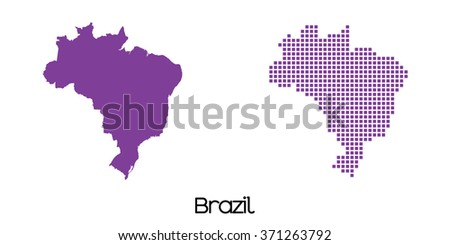 A Solid and Mosaic Map of Brazil - stock vector