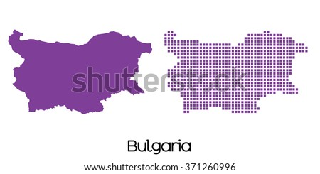 A Solid and Mosaic Map of  Bulgaria - stock vector