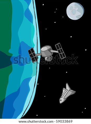 A space shuttle closes in on a satellite in orbit around the Earth with the moon in the background. - stock vector