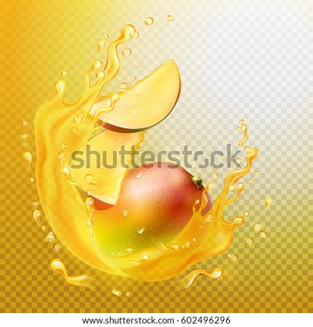 A splash of juice with mango and mango slices. Orange juice frame. Vector illustration. A splash is a transparent object.