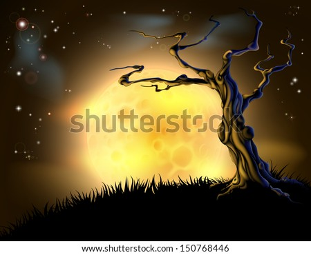 A spooky scary orange Halloween background scene with full moon, clouds, hill, and scary tree - stock vector