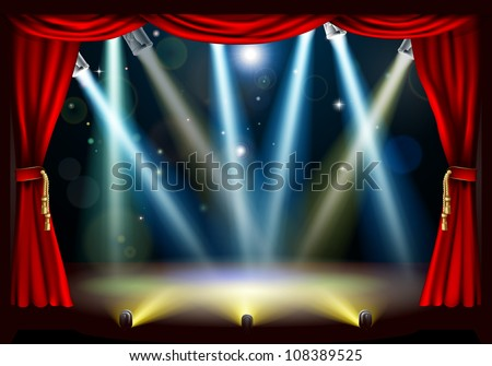 A spotlight theatre stage with coloured spotlights and red stage curtain drapes