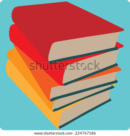 A square icon with a simple illustration of stacked books. This file is Vector EPS10.