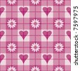"A 12"" square repeating vector plaid pattern with hearts and flowers. - stock vector"