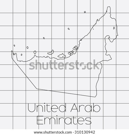 A Squared Background with the country shape of United Arab Emirates - stock vector