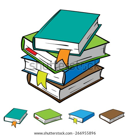 A stack of four books with bookmarks, and each book individually. Vector graphics. All books in the stack is located on different layers that make it easy to manipulate.  - stock vector