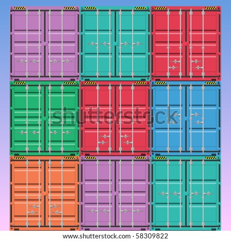 A Stack of Vector Freight Containers - stock vector